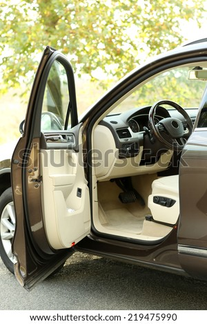 Modern car with open door, outdoors - stock photo
