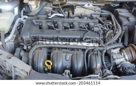 modern car with rusty engine - stock photo