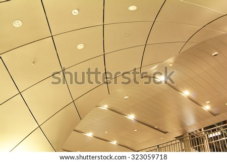 Modern ceiling design of metro railway station