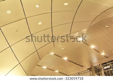 Modern ceiling design of metro railway station - stock photo