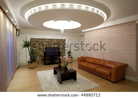 modern ceiling lights in living room - stock photo