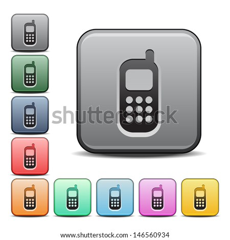 Modern Cell Phone Icon with Color Variations.  Raster version, vector also available. - stock photo