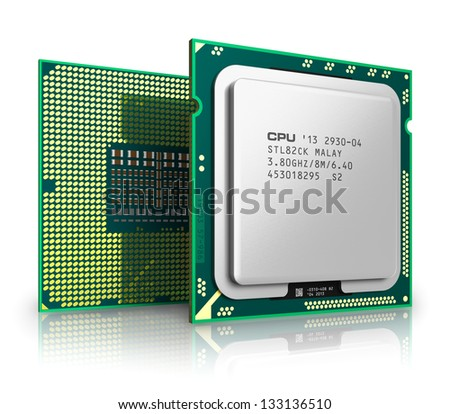 Modern central computer processors CPU isolated on white background with reflection effect - stock photo