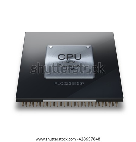 Modern central computer processors CPU on white background. High resolution 3d render