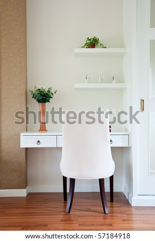 Modern chair and table, modern interior - stock photo