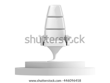 Modern chair on stage in a white background 3D rendering. - stock photo