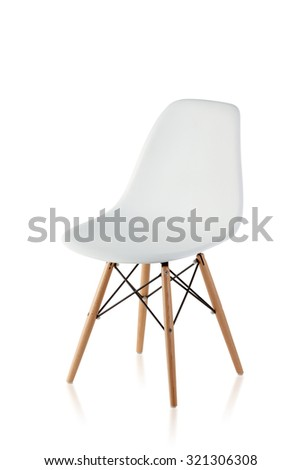 modern chair with wooden legs isolated on white background - stock photo