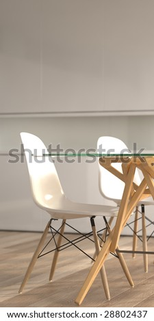 Modern chairs and dining table (3D render)
