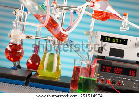 Modern chemical laboratory. Installation for synthesis - stock photo