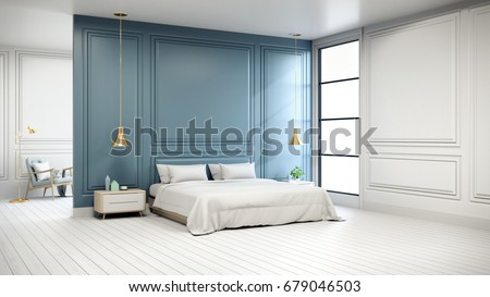 Modern Chic Interior Of Bedroom ,white Bed With Gold Lamp On White Flooring  And Blue