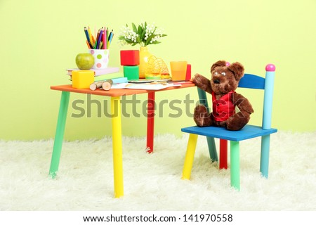 Modern child's room with equipment and toys - stock photo