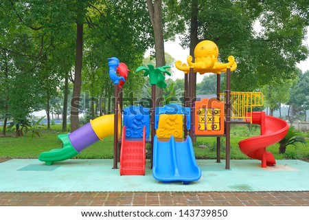 Modern children playground in park