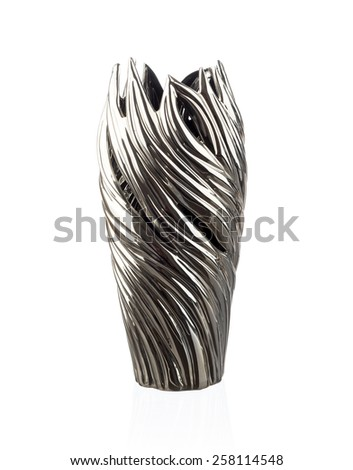 Modern chineese metallic vase isolated on white - stock photo