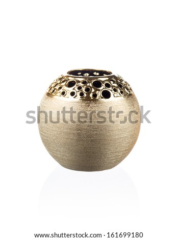 Modern chineese vase isolated on white - stock photo