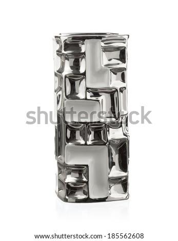 Modern chineese vase isolated on white background - stock photo