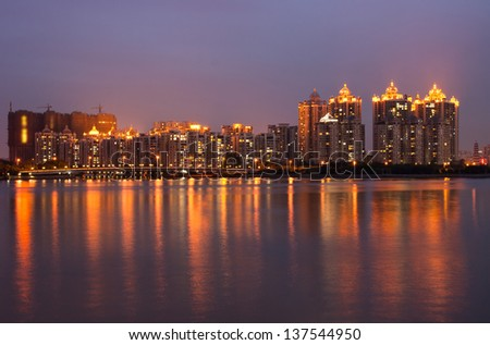 Modern Chinese residential at night,Guangzhou China - stock photo