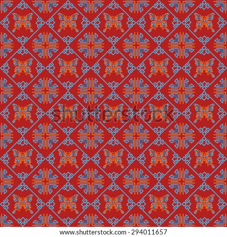 Modern chinese texture, design template, geometric tiles wallpaper pattern background in retro style for your design