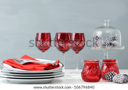 Modern christmas decoration table display in simple, elegant, minimalist style - stock photo