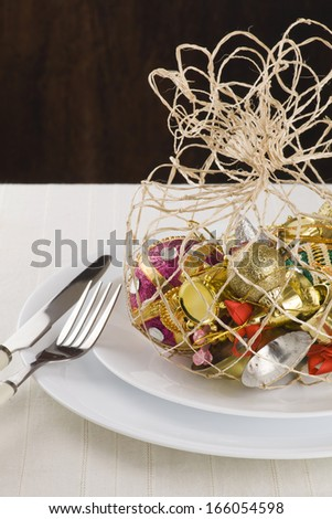 Modern christmas ornaments  table  decoration idea - stock photo