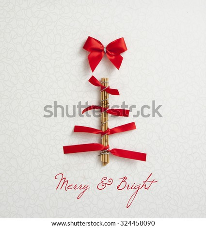 modern christmas tree card - stock photo
