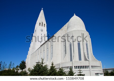 Modern church in Reykjavik, Iceland - stock photo