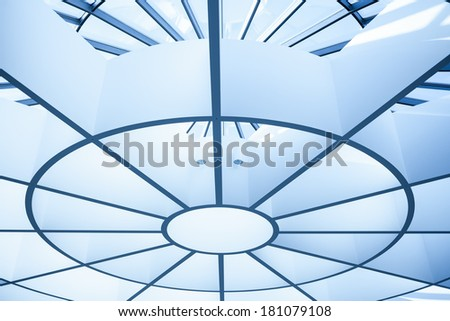 Modern circle ceiling in blue horizontal view - stock photo