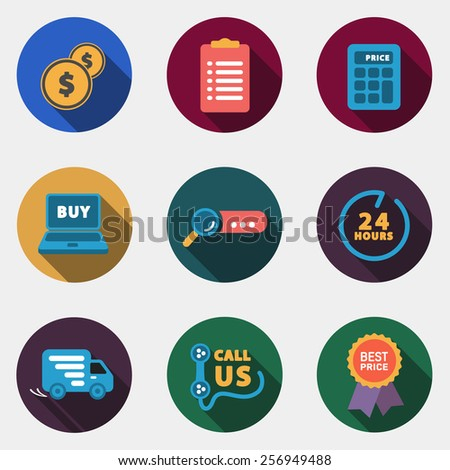 Modern circle colorful shop icons with shadow - stock photo