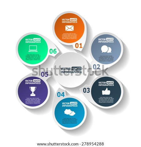 Modern circle infographics for e-business, diagrams, charts, web sites, mobile applications, banners, corporate brochures, book covers, layouts, presentations etc. Raster illustration - stock photo
