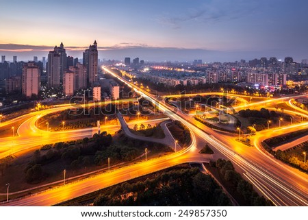 Modern city, a busy overpass - stock photo