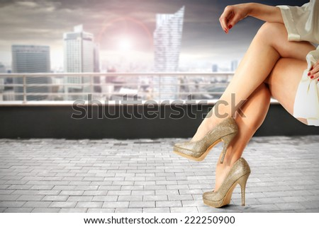 modern city and legs  - stock photo