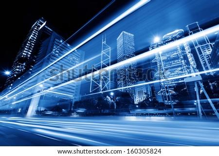 Modern city at night, Hong Kong, China. - stock photo