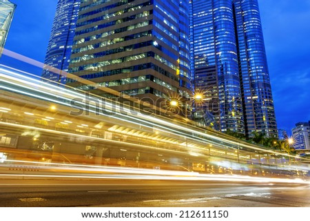 Modern city at night, Hong Kong, China. - stock photo