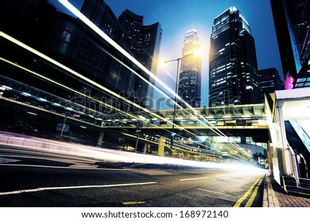 modern city at night  in hongkong