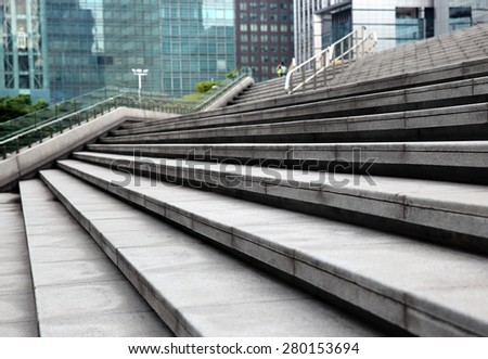 Modern city building stairs  - stock photo