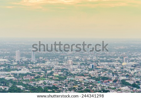 Modern city buildings and skyscrapers. Metropolis at Bangkok Thailand - stock photo
