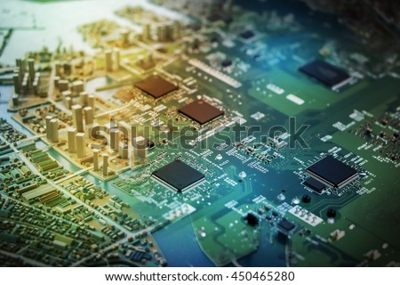 modern city diorama and electric circuit board, abstract image visual - stock photo