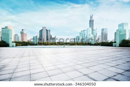 modern city in blue sky - stock photo