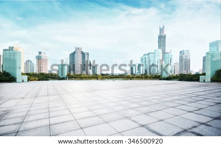 modern city in blue sky - stock photo