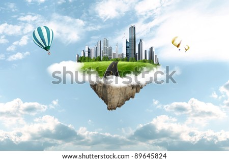 modern city in clouds. business concept