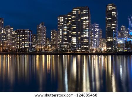 Modern city in the night - stock photo