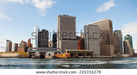 modern city, New York City skyline in daytime - stock photo