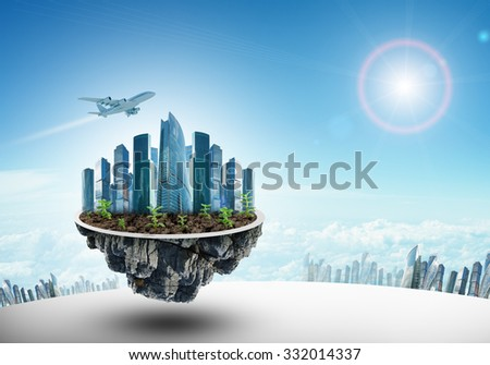 Modern city on island in blue sky background