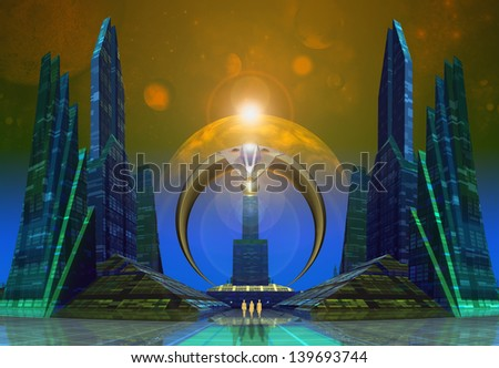 Modern City Skyline - Computer Artwork - stock photo