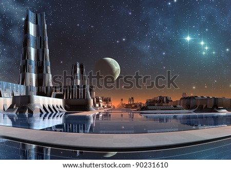 Modern City Skyline On Taris, skyline with stars and moon in the background