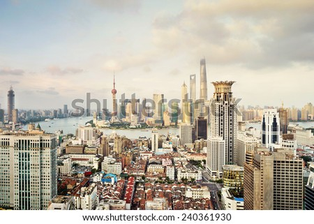 modern city skyline,traffic and cityscape in Shanghai,China - stock photo