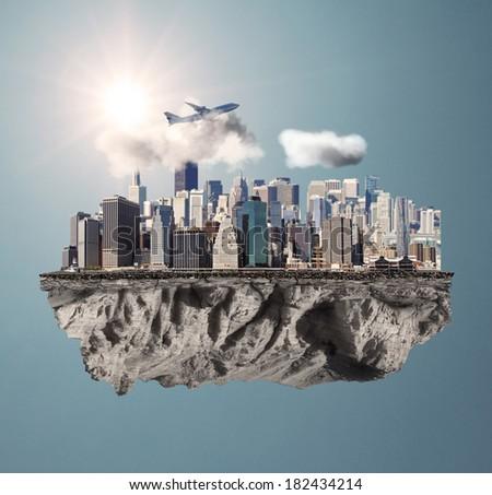 modern city standing on big island - stock photo