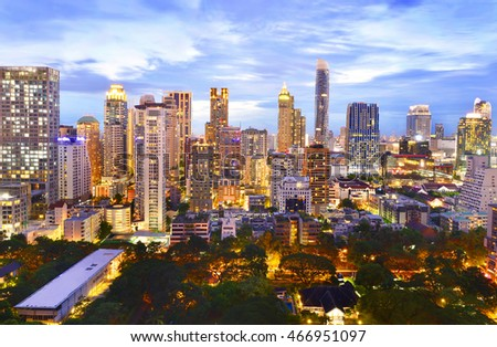 Modern city view of Bangkok, Thailand.