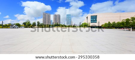 modern city with empty road floor - stock photo