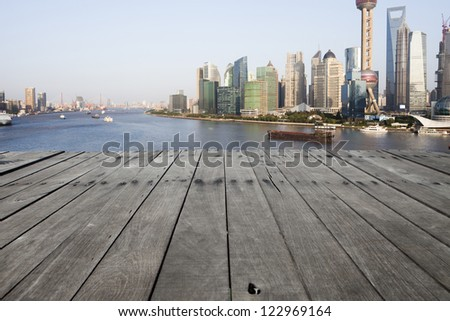 modern city with wooden floor - stock photo