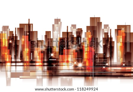 Modern cityscape concept background. Raster version